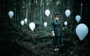 Picture forest, girl, balls, The Soul Taker