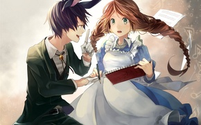 Picture girl, notes, anime, art, guy, notebook, ears, kuronyanko