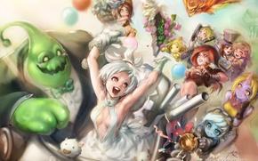 Picture flight, joy, girls, guys, art, characters, league of legends, phantom ix row