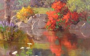 Picture flowers, lake, surface, reflection, stones, shore, the bushes