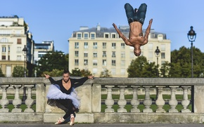 Picture ballet, parkour, ballerina