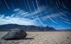 Picture light, line, mountains, desert, stone, trail, spiral, CA, the cycle, cobblestone, bokeh, Death Valley, stars, …