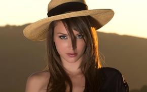 Picture look, girl, hat, Malena Morgan.model