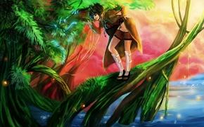 Wallpaper water, girl, lake, tree, magic, snake, art, naruto, RikaMello, mitarashi anko