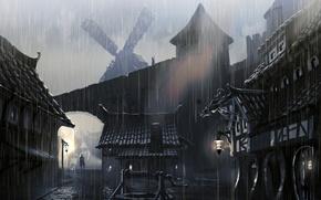 Wallpaper town houses, skyrim, artwork