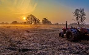 Picture field, light, fog, morning, tractor