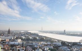 Wallpaper tower, Riga, winter, architecture, the city, capital, Riga, Latvia, Latvia, the sun, the sky, river