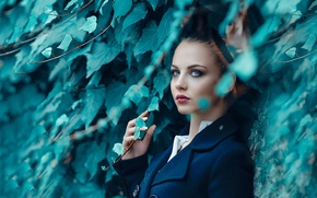 Picture greens, leaves, girl, makeup, Alessandro Di Cicco, Surrender to me