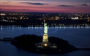 Picture night, city, the city, Wallpaper, New York, light, USA, USA, New York, wallpapers, the statue ...