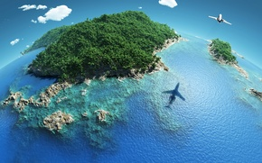 Picture the sky, Islands, clouds, tropics, the plane, the ocean, shadow, horizon, jungle, Earth, reefs