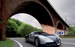 Picture road, trees, bridge, arch, Bugatti Veyron