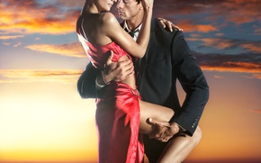 Wallpaper sunset, dress, passion, girl, feeling, lovers, passion, embrace, red, love, red dress, guy, hugs