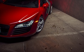 Picture Audi, Red, Front, Supercar, Wheels, Ligth, Motor