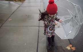 Picture girl, street, child, the wind, umbrella, autumn, leaves
