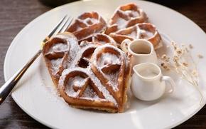 Wallpaper dessert, waffles, powdered sugar, heart, gravy boats