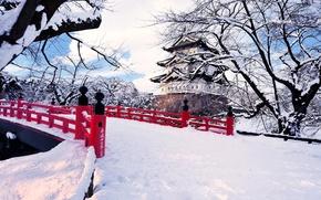 Picture winter, snow, trees, the city, Japan, the bridge, Hirosaki, © Glenn E Waters Photography, Japanese …