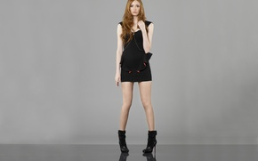 Picture look, girl, actress, beauty, studs, legs, red hair, grey background, redhead, Karen Gillan, Karen Gillan