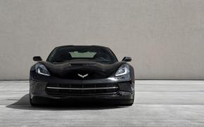 Picture black, black, the front, Corvette, stingray, running lights, chevrole, chevroletcorvette
