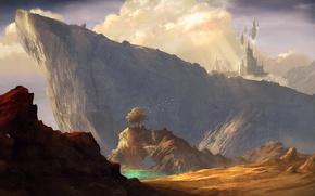 Picture landscape, mountains, castle, rocks, magic, art