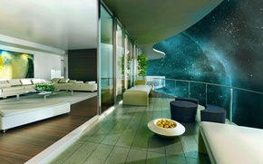 Picture house, the universe, view, Space, space, terrace