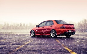 Picture winter, snow, mitsubishi, lancer, evolution, evo, orange, Lancer, Evo, Mitsubishi