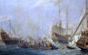 Picture ship, picture, Gaspar van Eyck, Naval Battle between the Turks and the Maltese Knights