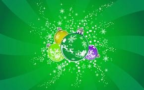 Wallpaper green, balls, new year