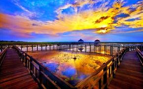 Picture sunset, river, sunrise, Landscape, bridges