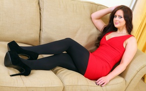 Picture girl, sexy, fashion, panties, dress, legs, brown hair, black stockings, eyes, smile, stockings, beautiful, model, …