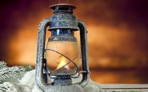 Picture flame, lamp, lantern, light, flame, vintage, snow, lamp, lantern, pine tree, twig, Svetlina, clone, recolta, …