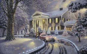 Wallpaper frost, car, machine, snow, lights, lights, house, retro, Villa, tree, beautiful, gifts, painting, Christmas, garland, ...
