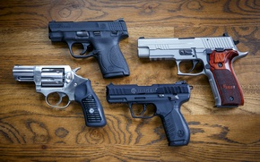 Picture weapons, guns, Sig P226, Smith & Wesson 9mm, Ruger SP101, Ruger SR22