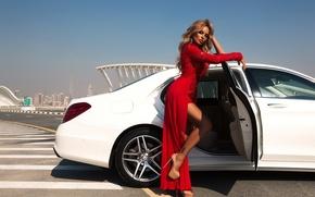 Picture girl, red, model, dress, mercedes, Alina Ilyina