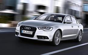 Picture Audi, Auto, Audi, Machine, Grey, Silver, The hood, Sedan, Lights