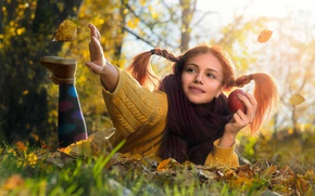 Wallpaper autumn, photographer, sweater, girl, foliage, Apple, nature, light, Tanya Markova, girl