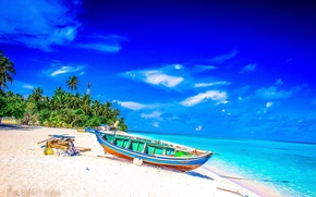 Picture beach, palm trees, the ocean, boat, fantastic Maldives