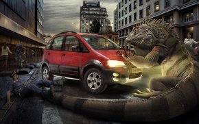 Picture machine, the city, horror, iguana