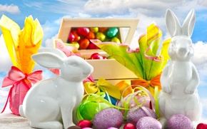 Wallpaper Easter, eggs, gifts, figurines, braid, chocolate, rabbits