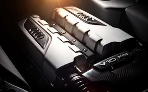 Picture Audi, engine, Audi, FSI, silvery, V10