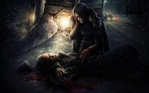Picture death, snow, road, crash, blood, girl, bus, post