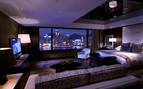 Picture city, lamp, sofa, bed, TV, window, curtains, bedroom, interior, the city., bedrom