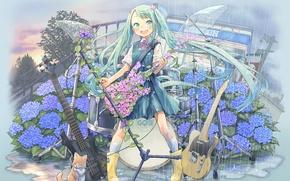 Picture cat, girl, joy, flowers, rain, mood, wings, guitar, microphone, vocaloid, hatsune miku, Vocaloid, drum set, …
