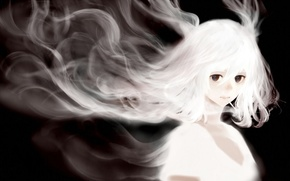 Wallpaper cigarette, smoke, girl, art, bounin, anime, hair