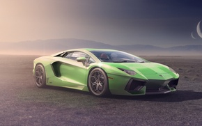 Picture Lamborghini, Moon, Green, Front, LP700-4, Aventador, Supercar, Desert