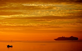 Picture sea, the sky, clouds, sunset, ship, boat