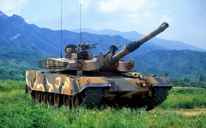 Picture landscape, mountains, Tank, К1А1 MW