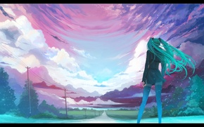 Picture road, the sky, posts, wire, perspective, back, stockings, is, vocaloid, Hatsune Miku, long hair