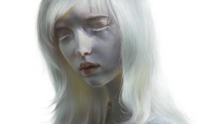 Wallpaper girl, face, hair, art, lips, white, albino