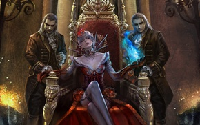 Picture decoration, castle, magic, magic, columns, vampires, red dress, Queen, panache, the throne, the style of …