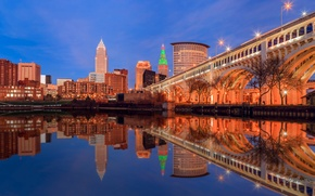 Wallpaper lights, USA, bridge, reflection, home, Ohio, Cleveland